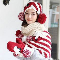 Fox knit hat scarf and gloves set for girls winter wear best birthday gift
