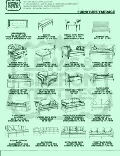 Recovering or re - upolstering a couch, bench, or headboard? Free Printable Fabric Yardage Guide!