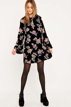 18ac1992804a Pins   Needles Burnout Devore Velvet Floral Swing Dress