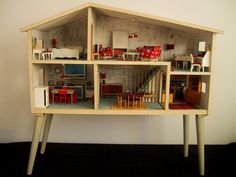 """Lundby dollhouse - c. 1967. I love how the legs turn this into """"furniture""""!"""