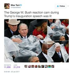 Funniest Donald Trump Inauguration Memes: George W. Bush Reaction Cam