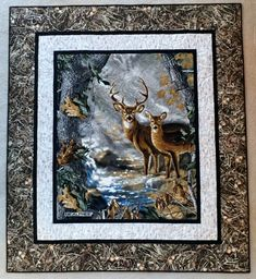Deer Lap Size Quilt by QuiltQrazy on Etsy Camo Quilt, Chevron Quilt, Sampler Quilts, Amish Quilts, Wildlife Quilts, Fabric Panel Quilts, Quilting Designs, Quilting Ideas, Quilting Projects