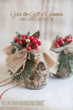 Give the gift of homemade granola this holiday season. Easy to make, tasty to eat and even more fun to gift.