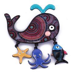 Broche la baleine bleue à motifs ronds