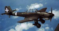 Italian German dive bomber Junkers Ju-production 87(Ju.87B-2) of 238 Squadron, 97th Group in flight