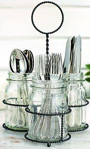 NEW-Kitchen-Mason-Jar-Flatware-Caddy-Cutlery-Storage-Holder-Silverware-Organizer