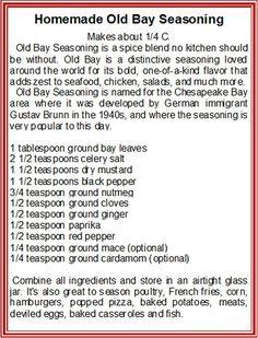 homemade Old Bay Seasoning. No, just fucking buy Old Bay Seasoning! Homemade Spices, Homemade Seasonings, Homemade Old Bay Seasoning Recipe, Homemade Dry Mixes, Real Homemade, Homemade Recipe, Spice Blends, Spice Mixes, Barbacoa