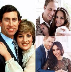 Prince Charles and Lady Diana Spencer, Prince William and Miss Catherine Middleton, and Prince Harry and Ms Meghan Markle