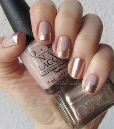 Beige and Gold Nail Design