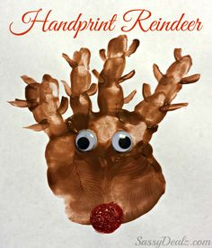 Handprint Reindeer Christmas Craft For Kids (Paint Art Project) #Rudolph | http://www.sassydealz.com/2013/11/handprint-reindeer-christmas-craft-for.html