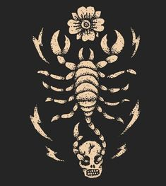 SCORPIO  WITH FLOWER AND SKULL Sun In Scorpio, Scorpio Art, Zodiac Signs Scorpio, Aesthetic Tattoo, Aesthetic Art, Rock Tattoo, Sun And Stars, Wallpaper Iphone Disney, Sun Sign
