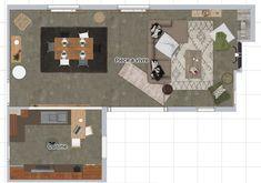 Plan 2D aménagement mobilier cuisine et grande pièce à vivre Plan 2d, Piece A Vivre, Decoration, Kids Rugs, Home Decor, Projects, Kitchens, Decor, Decoration Home