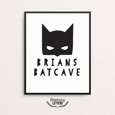 Custom Name Batcave Printable  Perfect print for Superhero fans!  ● This is a Digital Download ● Resolution: 300 DPI ● Size: 8x10 Inches ● RGB