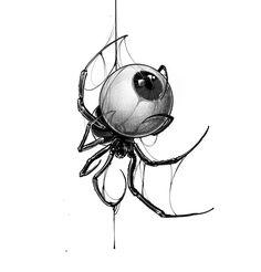 Sketch Tattoo Design, Owl Tattoo Design, Tattoo Sketches, Drawing Sketches, Tattoo Drawings, Emoji Drawings, Dark Art Drawings, Spider Art, Spider Tattoo