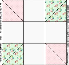 Convite Caixa Fundo Floral Verde e Rosa