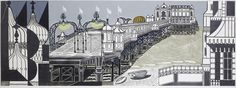 """Edward Bawden R.A. (British, 1903-1989) Brighton Pier Colour linocut, from the first edition, a richly inked impression, on thin wove, titled, inscribed """"Artist's proof 40/40"""", signed and dated 1958 in pencil, 554 x 1455mm (21 3/4 x 57 1/4in)(SH)"""