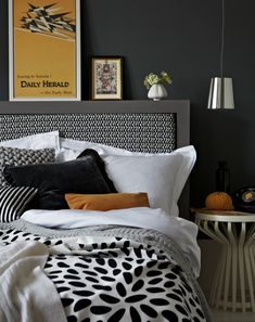 Black, white & yellow bedroom. Styling by Elkie Brown | Photography by Jon Day.