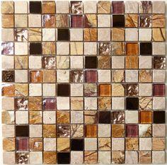 "Unicorn  Opulence Series, 7/8"" x 7/8"", Mountainous, Polished & Unpolished, Brown, Glass, Stone & Metal"