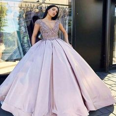 1e781f77987 Gorgeous Lace Top With Beaded Cap Sleeves Ball Gown Prom Dresses
