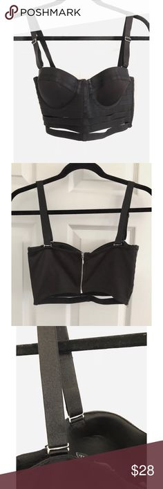 ASOS 'Bondage Bodice Corset Bustier Top' ASOS 'Bondage Bodice Corset Bustier Top'  • Removable Straps  • Adjustable Straps  • Slightly worn but still in good condition (refer to photos) • Molded underwire cups • Elastic Bonds • Zipper Closure With Hook & Eye  • Black Satin  • Size: US4 / UK8   Wear it by itself, or over your clothing! 😉  (refer to photos for OOTD inspos) ASOS Tops Crop Tops