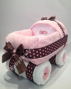 Adorable Baby Carriage Diaper Cake #carriage #gifts #babyshower