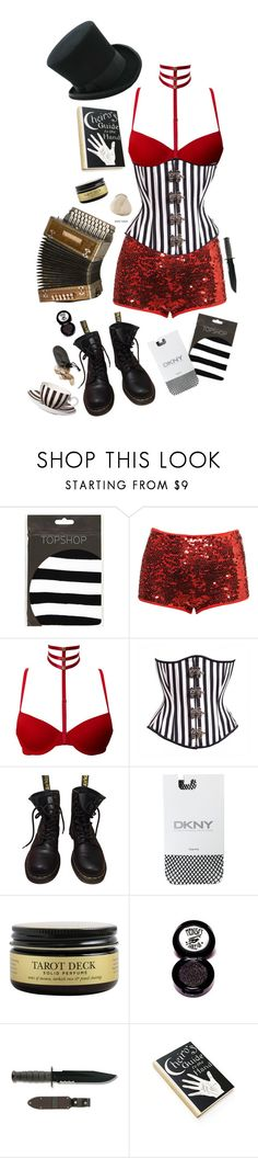 """Untitled #55"" by another-emily ❤ liked on Polyvore featuring Topshop, Dr. Martens, DKNY, Ultimate and Medusa's Makeup"