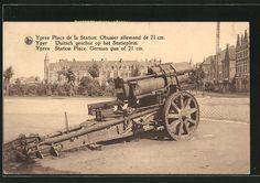 old postcard: Foto-AK Ypres, 210-mm-Mörser auf dem Statieplein