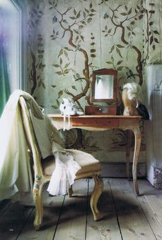 Sweden's Drottingham Palace Theatr. Love the bleached floors and hand painted wallpaper.  HG archives  14