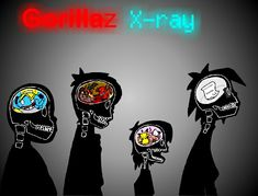 Gorillaz 1. Del is in Russel's brain 2. Murdoc has a imaginary hell in his 3. Why is pickachu in Noodle's 4. I'm ok with 2d not having a brain but a note left by god apologizing!!! XD XD XD XD