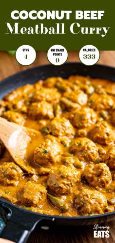 A Creamy Coconut Beef Meatball Curry - delicious tender meatballs with hidden veg in an amazing coconut sweet potato sauce. Gluten Free, Dairy Free, Paleo, Slimming World and Weight Watchers friendly beef mince Coconut Beef Meatball Curry Sweet Potato Sauce, Sweet Potato Curry, Whole30, Slimming World Beef Recipes, Slimming World Beef Curry, Slimming World Salads, Minced Beef Curry, Ground Meat Recipes, Beef Mince Recipes