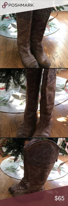 Corral Leather Riding Boots Corral Genuine Leather Riding Boots Brown Size 9, in Great Pre-Loved Condition Corral Shoes Heeled Boots