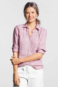 Women's Long Sleeve Linen Stripe Smocked Shirt from Lands' End $24.97