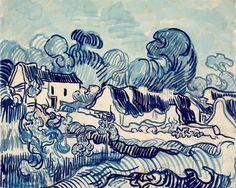 """Van Gogh, """"Landscape with Cottages"""" 1890"""