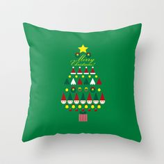FLAT CHRISTMAS series -CHRISTMAS TREE_G Throw Pillow by SEOL.D - $20.00