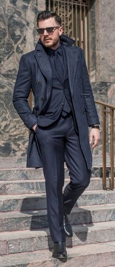 Black and Navy, Mens Fall Winter Street Style Fashion.