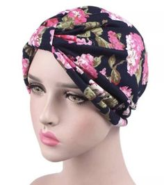 b5eb33c5f06 Blue Flowered wrap head cap turban Hijab beanie chemo hat by  AyahSCollections on Etsy https