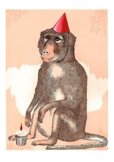 James Ward   Birthday Boy Baboon - A3 Print