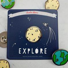 Moon or Planet Earth Explore Enamel Pin