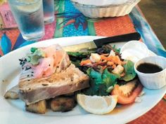The seared ahi tuna at Sea Harvest Restaurant in Moss Landing, California, where the view on the plate is almost as good as the view of  marine wildlife through the window. Photo by Monterey Herald Table Talk reviewer Sam Laage.