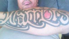 Jason Pulevaka's Warriors tattoo. Check out the Vodafone logo as the 'O' #Tattoo #Vodafone #Warriors