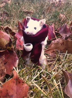 Autumn Mouse Enjoying Coffee  Custom Mouse by MortuaryReport, $75.00