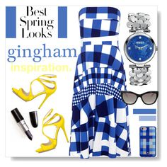 """Gingham Inspiration"" by mponte ❤ liked on Polyvore featuring Être Cécile, H&M, Kate Spade, Prada and Versus"
