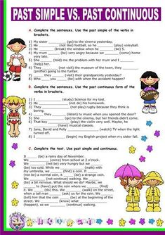 Past Simple vs. Past Continuous. - English ESL Worksheets for distance learning and physical classrooms English Grammar Worksheets, English Verbs, English Resources, English Activities, English Phrases, English Lessons, Grammar Practice, Grammar And Vocabulary, Grammar Lessons