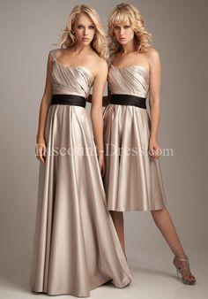 A-Line One-Shoulder Scoop Floor Short Length Satin Bridemaid Dress style 26212