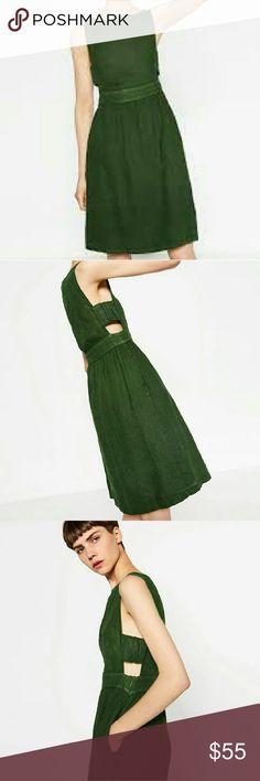 """Zara Dress NWT Beautiful forest green linen Zara dress with side cutout detail and pockets. Laying flat; Bust 18.5"""" and Waist 15"""" 100% Linen. Zara Dresses"""