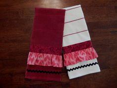 Flirty Ruffled Kitchen Towel Set by ZanymouseCreations on Etsy