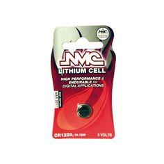 NMC CR1220 3V PILA. Pack 1 pila de botón alcalinas de alta calidad, CR1220 de 3 V.