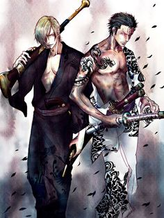 Sanji and Zoro  One Piece  If they looked like this in the anime/manga then I'd be watching/reading, lol