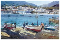 Paintings and master works of David Taylor, watercolour artist. Watercolor Landscape, Watercolour Painting, Watercolours, Watercolor Water, 7 Arts, Boat Painting, Nautical Art, Art Courses, Australian Artists