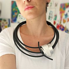 Silver statement necklace - Rubber necklace - Contemporary jewelry - Multi strand - Asymmetryc jewelry - African jewelry.FREE SHIPPING.